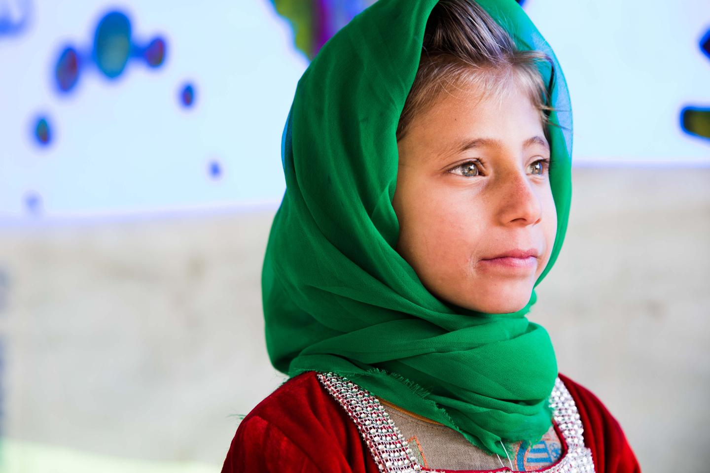 A young girl on World Children's Day in Kabul, Afghanistan.