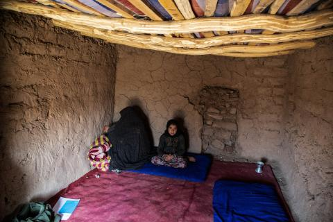Badro and her mother in their temporary house