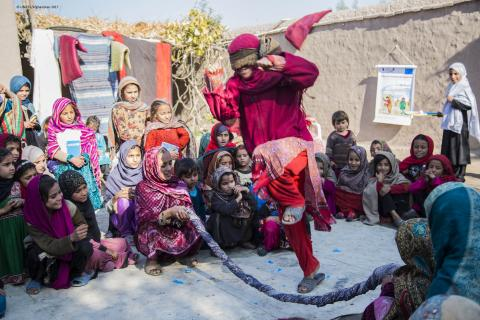 Girls playing at a UNICEF-supported child-friendly space in Nangarhar