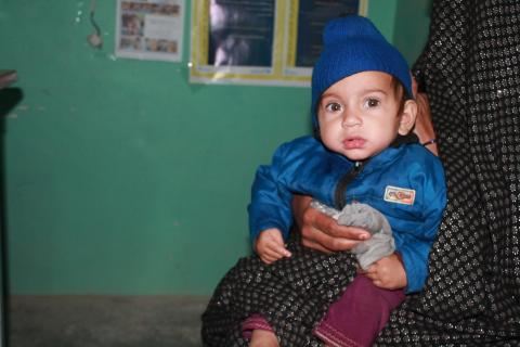 Aqila, 11 months old, at an outpatient centre in Farah City in western Afghanistan.