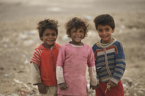 Jogi children play together outside their camps in Khurasan neighbourhood in the city of Mazar in northern Afghanistan.