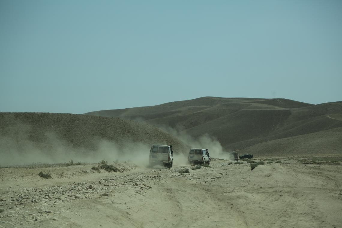 UNICEF visiting delegation traveling to Sholgara District, one of the five worst affected drought districts in Balkh Province, northern Afghanistan.