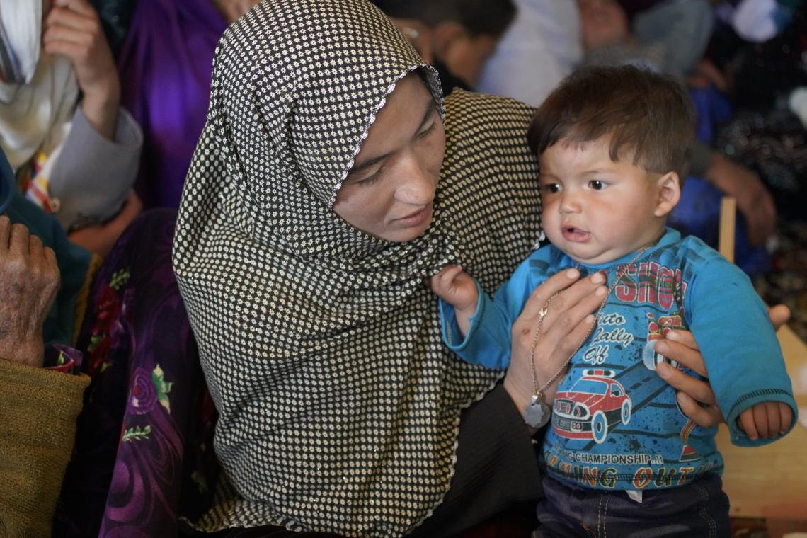 Zainab has brought her two years old son Sayed Reza for his routine checkups by the mobile heath team and his recovery from acute malnutrition.