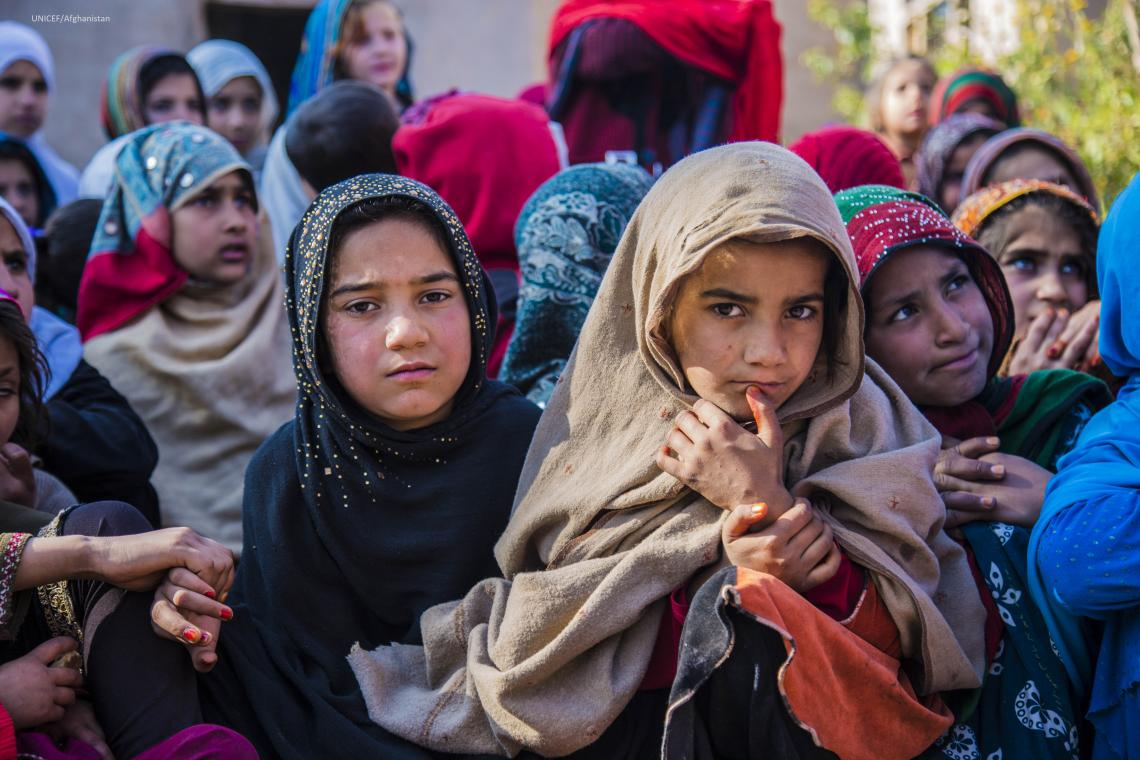 Girls at a UNICEF-supported child friendly space in Nangarhar