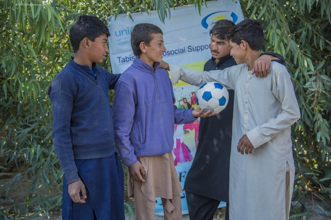 Boys playing at a UNICEF-supported child friendly space in Nangarhar.