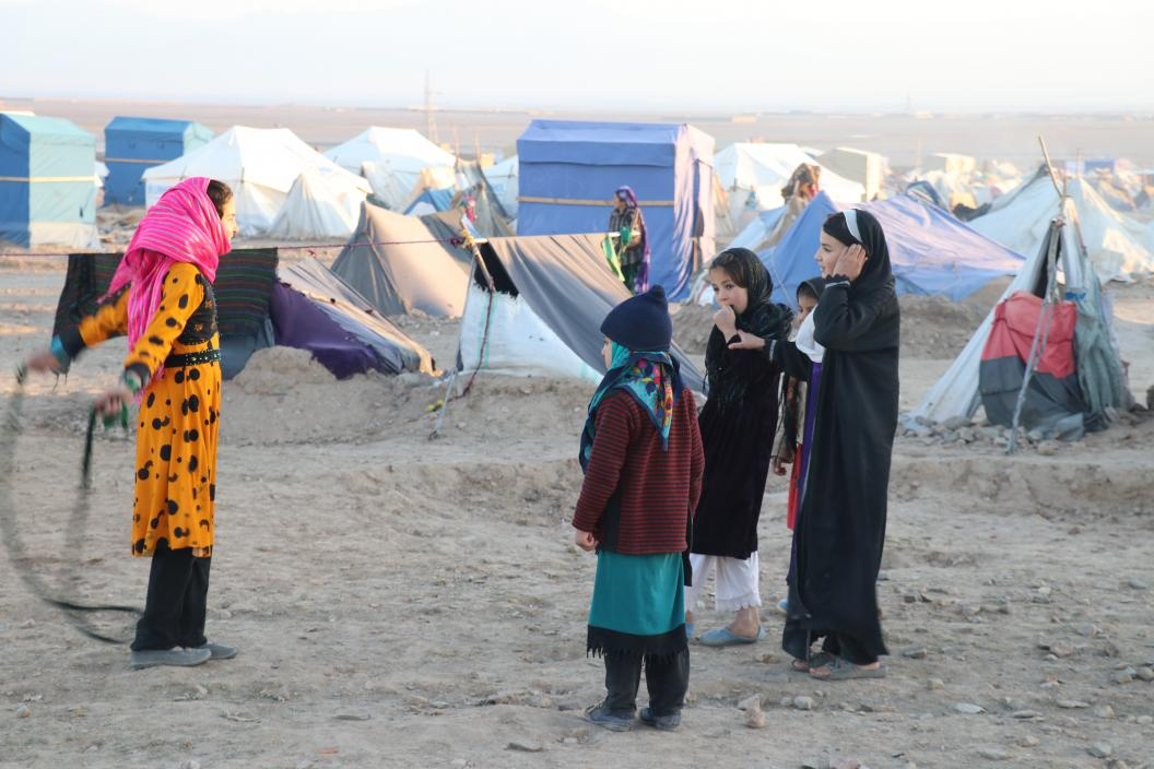 IDP girls in a settlement in Badghis