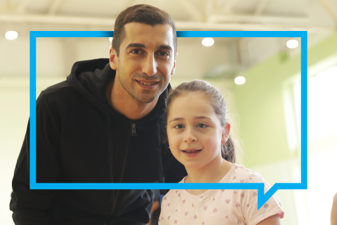Mariam and Henrikh Mkhitaryan is posing in the backstage after participating in the filming of a very important video promoting equal opportunities for every child.