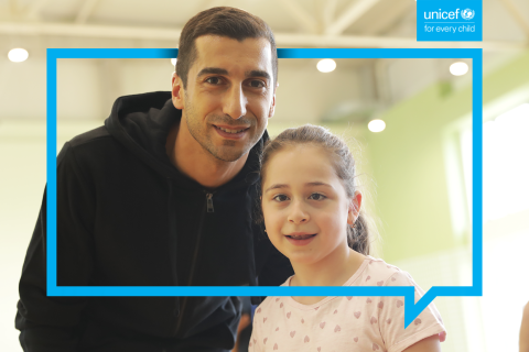 Mariam and Henrikh Mkhitaryan in the backstage of the filming our new video promoting social inclusion of children with disabilities.