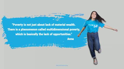 Anna (wearing UNICEF cyan t-shirt ) is smiling widely and her quote is in cyan box on the left.