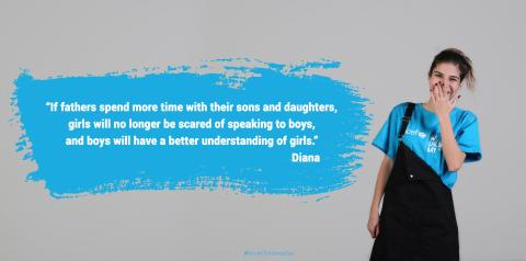 Diana smiles widely wearing UNICEF t-shirt and her quote is in the left in cyan cloud.