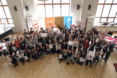 50 young girls and boys came together in the first round of UNICEF's UPSHIFT program.