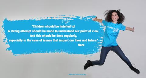 Nare in UNICEF cyan t-shirt is jumping and smiling and her quote is written in the cyan cloud on the left.