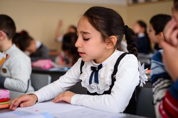 A girl during the English language class in inclusive school in Yerevan.