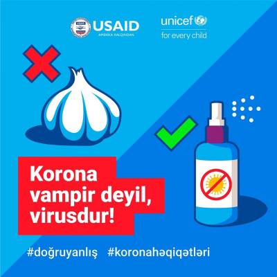 "An image with garlic stating ""Coronavirus is not a vampire; you can fight it with washing hands"""
