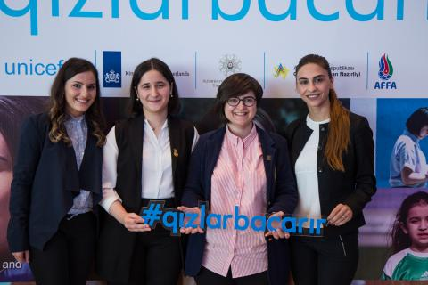 Heroes of #GirlsCan campaign at the 1st Girls Can Forum in Baku.