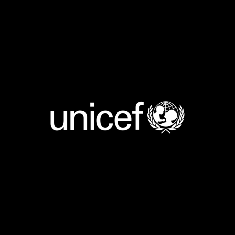 UNICEF logo on a black background.