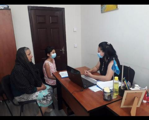 Shahana receives consultation with her grandmother at Shirvan Service Centre.