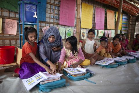 Rohingya children studying in school