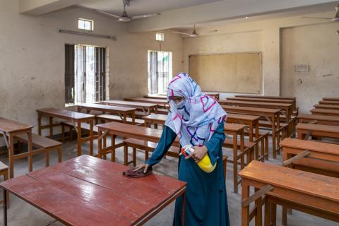 Bangladesh. Disinfecting the classroom