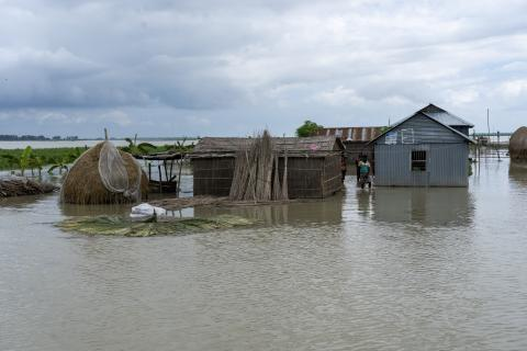 Bangladesh. The cultivable lands of Kurigram District submerged under floodwater.