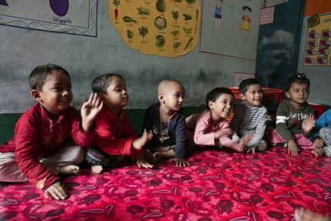 Children interact at a day-care in Bangladesh