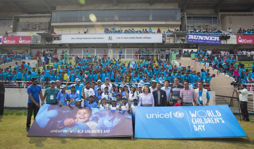 A group of adolescent cricketers played an entertaining and high-voltage match teaming up with past and present cricket legends of the country at the Sher-e-Bangla National Cricket Stadium