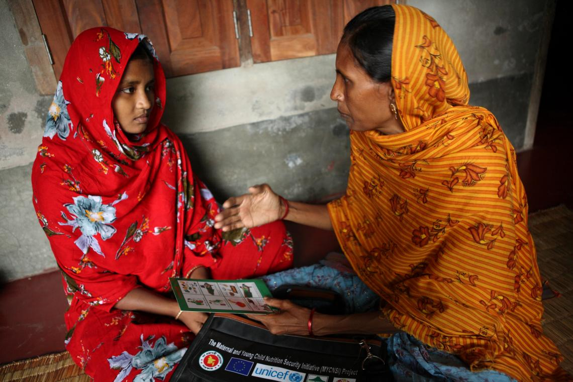 Adolescent mother receives health counselling at Satkhira