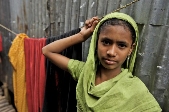 Adolescent girl at Bau Bazaar slum in Dhaka