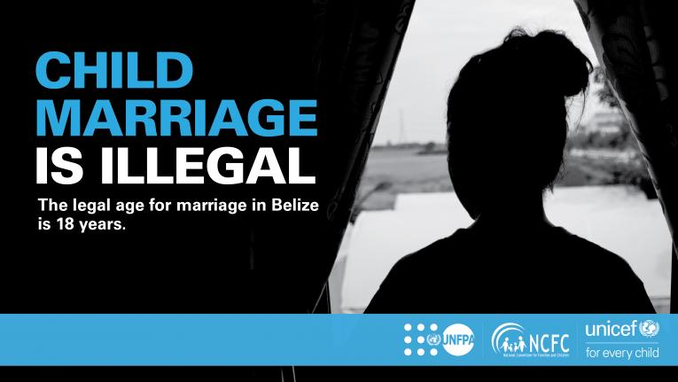 "Belize: silhouette of a girl (right) with writing ""Child marriage is illegal"" (left)."