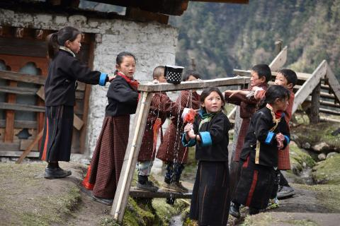 Children in remote laya village