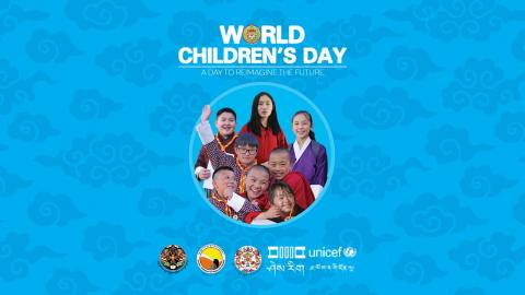 A group of children on the WCD banner