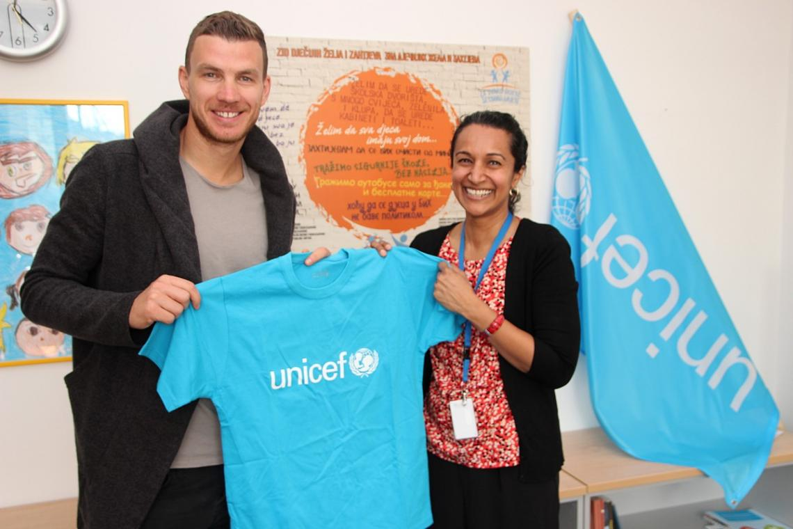 Edin Dzeko, UNICEF Bosnia and Herzegovina Ambassador with Geeta Narayan