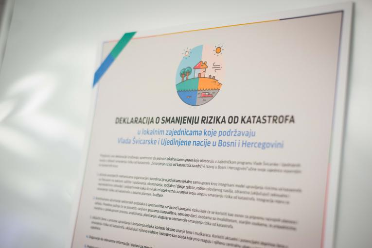 "DECLARATION OF COOPERATION ON DISASTER RISK REDUCTION SIGNED  WITHIN THE JOINT SWISS UN PROGRAMME  ""DISASTER RISK REDUCTION FOR SUSTAINABLE DEVELOPMENT IN BOSNIA AND HERZEGOVINA""."