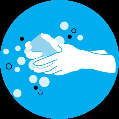 desenho mostra mãos sendo lavadas