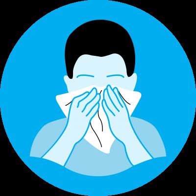 desenho mostra alguém espirrando com um lenço cobrindo o rosto