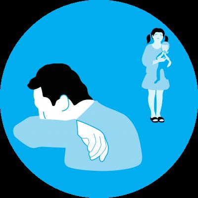 desenho mostra um homem espirrando e uma menina mantendo distância dele