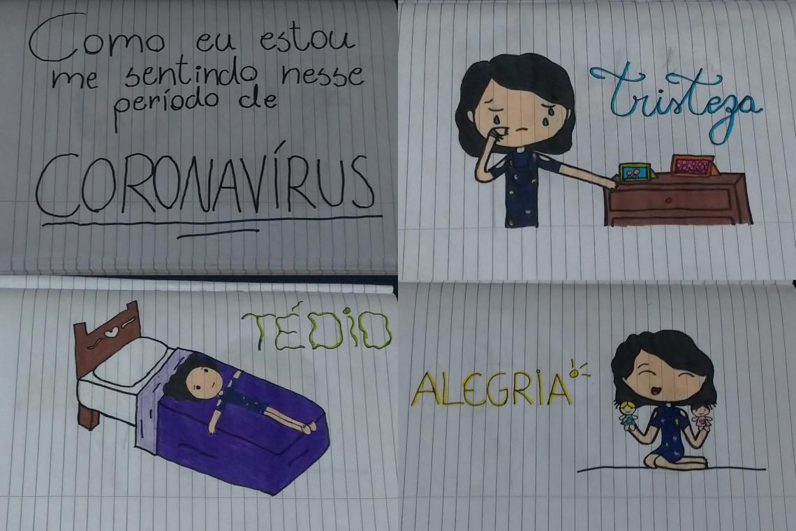 uma série de desenhos mostram como a menina se sente: triste, alegre, com tédio