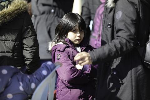 An Afghan child at the at the Turkey-Greece border on 29 February 2020