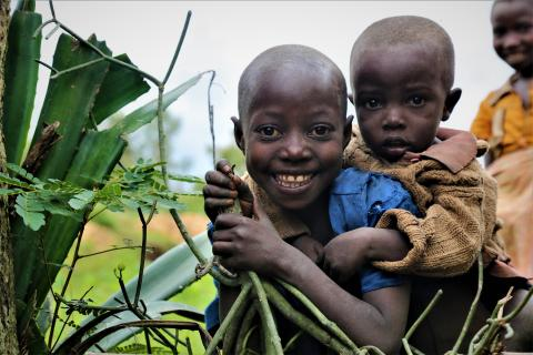 Two siblings at a town in Rutana province, Burundi.