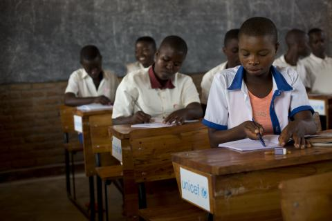 Pupils sit in new classrooms in the new part of the school, Nyanza Lac 5 at Nyanza Lac in Burundi. The school added two new classrooms build by UNICEF with funding of the Swedish Development Aid.