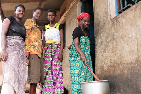 Diane, Evelyne, Blandine and Marie (from left to right)  benefitted from the Child Portection Mpore Mwana programme. She now is part of a doughnut business with other formerly vulnerable girls in Nyabunyegeri, Rubiziri, Bujumbura rural