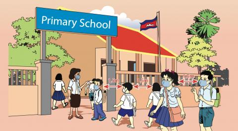The illustrated handbook features safety guidelines and checklists which help teachers and school directors in Cambodia start the new school year prepared.