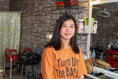 Chem Vanra, 24, in her salon in Phnom Penh. October 31st 2019