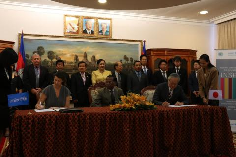 A signature ceremony between Japan embassy, UNICEF and MoSOVY
