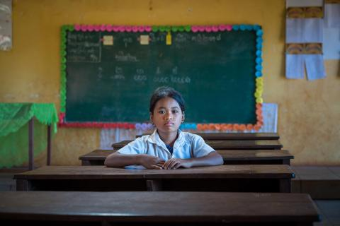 15 November 2018, Kres primary school, Kres village, Poy commune, Ochum district, Ratanakiri Province, Cambodia. 11-year old Loul Bopha in her classroom. Her school runs the multilingual education curriculum which means she can study in her indigenous language of Kreung while she learns the national language of Khmer.