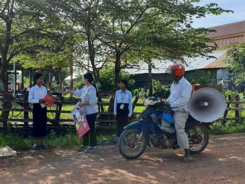 Community workers travel around Preah Vihear province spreading good hygiene messages.