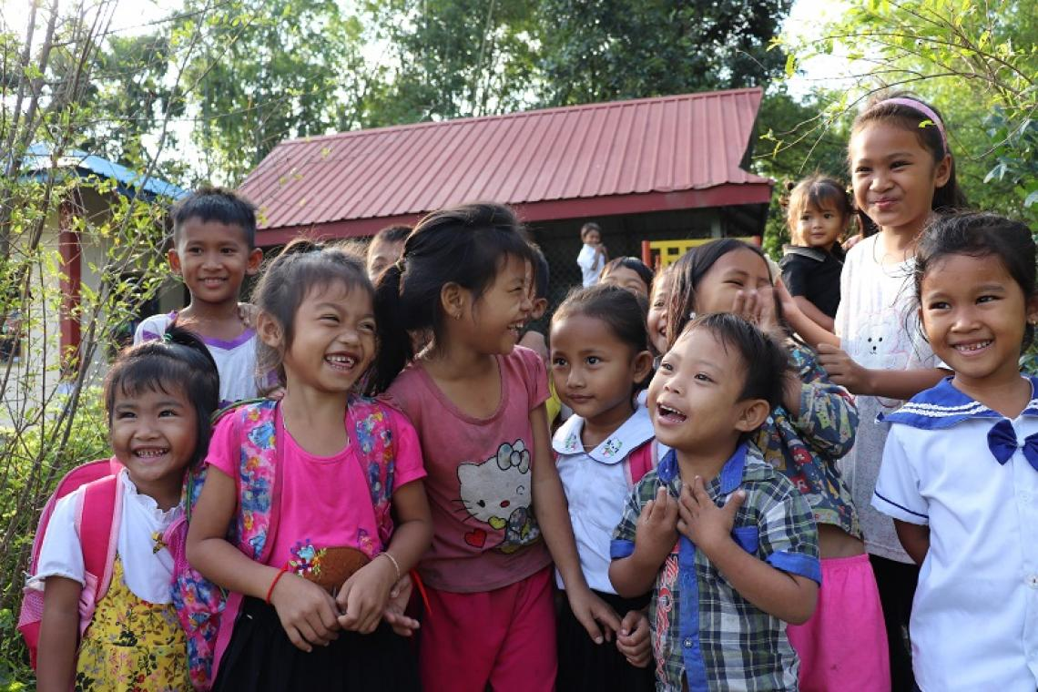 Some of Seng Noeun's students leaving Phum Krouch community preschool after class.