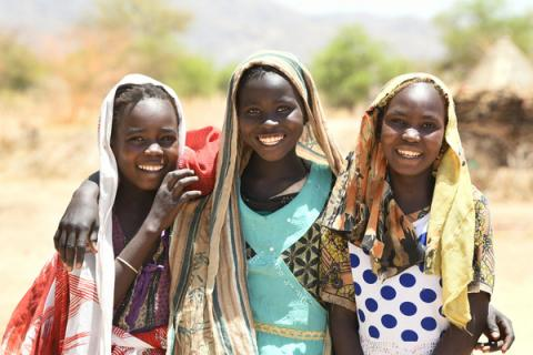 Happy girls in the village of Alibeit, in the South of Chad.  For every child, friendship