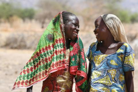 Happy girls in the village of Alibeit, in the South of Chad.  For every child, friendship.