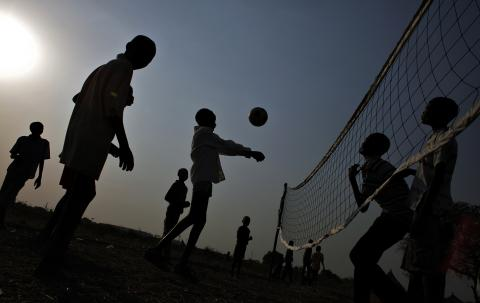 Children are playing in refugee camp